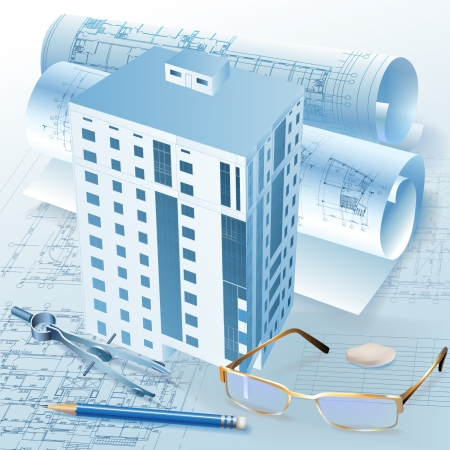 building structure: Architectural background with a 3D building model  Vector clip-art Illustration