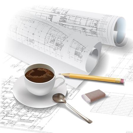 compas de dibujo: Fondo arquitectónico Vectores