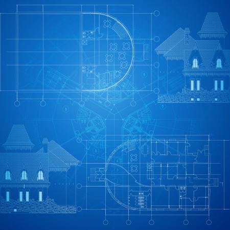 blueprint house: Urban Blueprint  vector