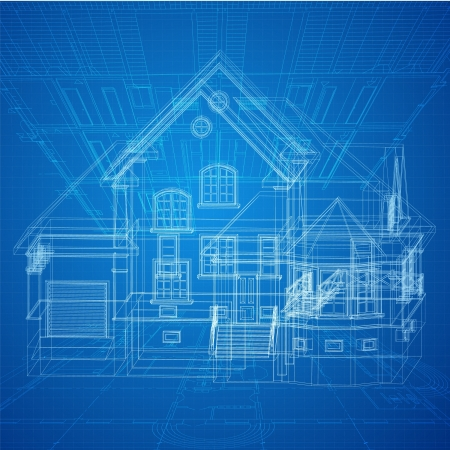blue print: Architectural background with a 3D building model