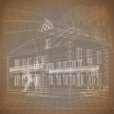 architectural drawing: Architectural background with a 3D building model