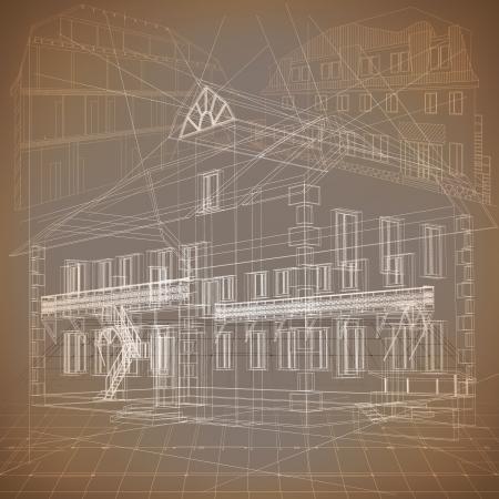 Architecturale achtergrond met een 3D-gebouwmodel Vector Illustratie