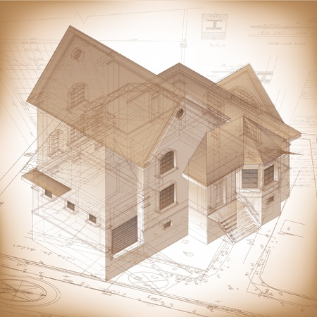 cad drawing: Architectural background with a 3D building model