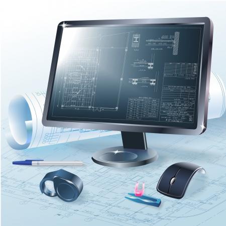 dibujo tecnico: Fondo arquitectónico con unas herramientas de oficina de monitor, y rollos de dibujos Vectores