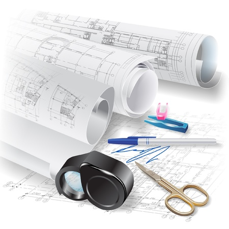 architectural drawing: Architectural background with drawing tools and rolls of drawings Illustration