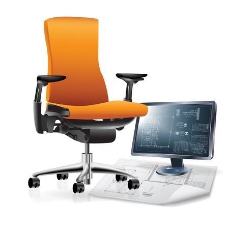 Parte del interior de la oficina con una silla y dibujos de arquitectura