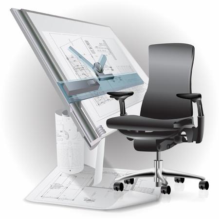 muebles de oficina: Parte del interior de la oficina con una silla y dibujos de arquitectura Vectores
