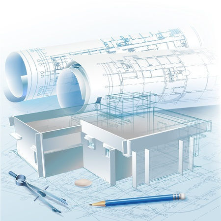 architecture drawing: Architectural background with a 3D building model