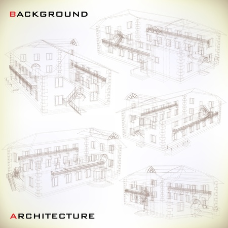 Set of Building Drawings  Architectural background  Part of architectural project, architectural plan, technical project, drawing technical letters, architecture planning on paper, construction plan Vector