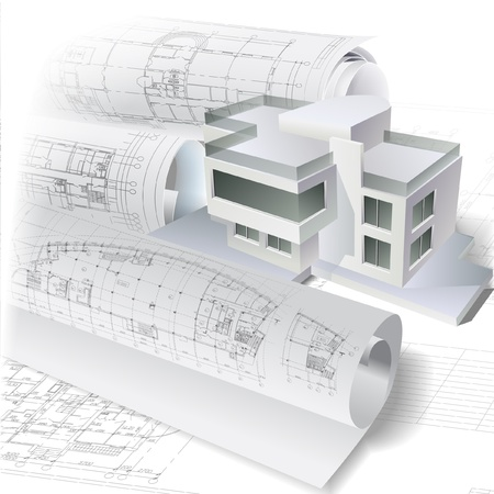 house diagram: Architectural background with a 3D building model