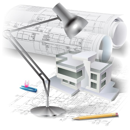 plots: Architectural background with a 3D building model