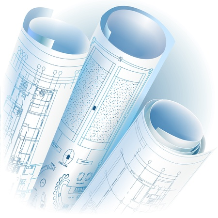 Architectural background with rolls of technical drawings  Vector