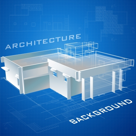 Architectural background with a 3D building model  Vector