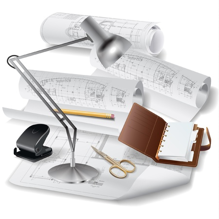 cad drawing: Architectural background with a notebook, lamp and rolls of drawings   clip-art