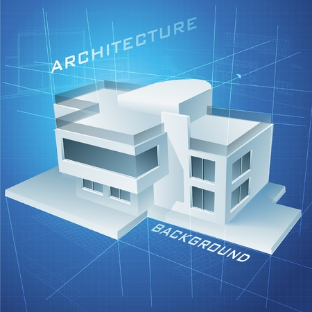 measuring cup: Architectural background with a 3D building model clip-art Illustration