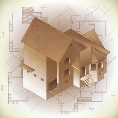construction paper: Architectural background with a 3D building model clip-art Illustration