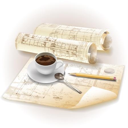piano di progetto: Grunge sfondo architettonico con strumenti di disegno e rotoli di disegni vettoriali clipart Vettoriali