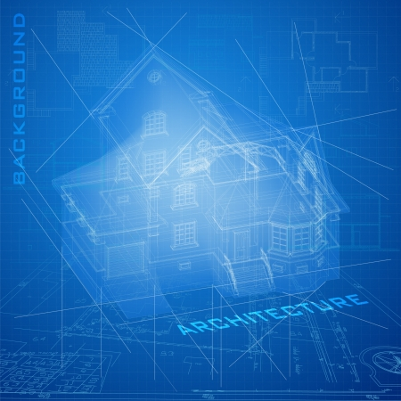architectural: Urban Blueprint     Architectural background with a building model Illustration