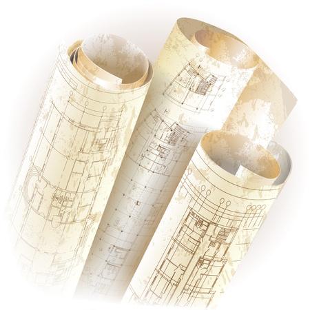 piano di progetto: Grunge sfondo architettonico con rotoli di disegni clip-art Vettoriali