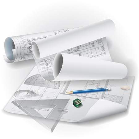 cad: Architectural background with drawing tools and rolls of drawings clip-art