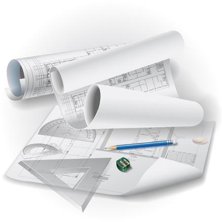 dibujo tecnico: Fondo arquitectónico con herramientas de dibujo y rollos de dibujos de arte de clip Vectores