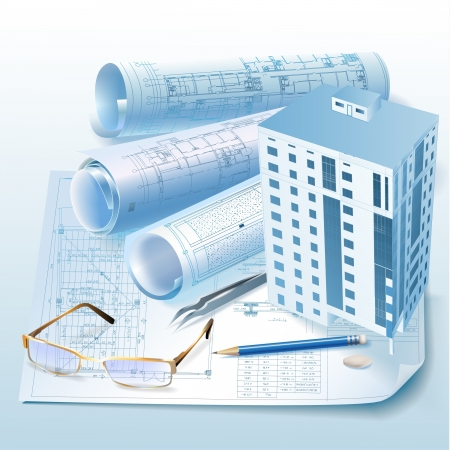 building blueprint: Architectural background with a 3D building model  clip-art