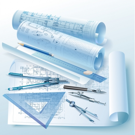 architectural drawing: Architectural background with drawing tools and rolls of drawings  clip-art Illustration
