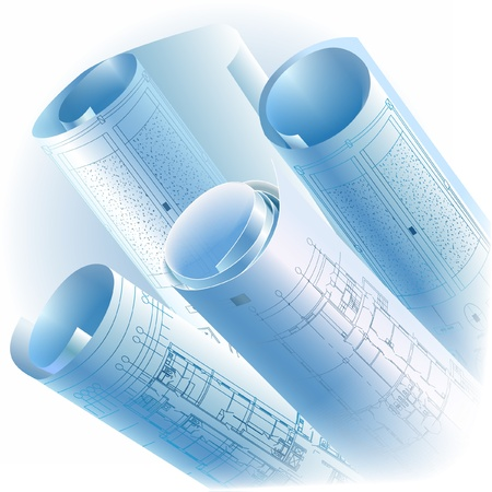 cad drawing: Architectural background with rolls of drawings clip-art