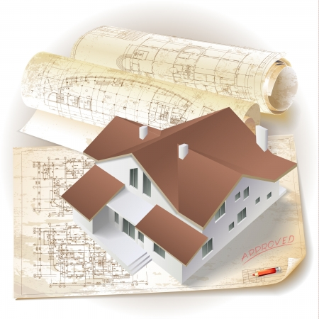 architectural plan: Architectural background with a 3D building model clip-art Illustration