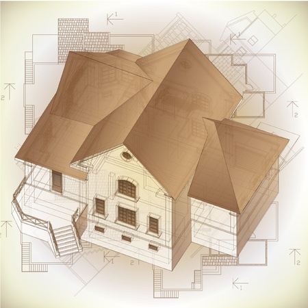 cad drawing: Architectural background with a 3D building model  clip-art
