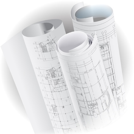 interior plan: Architectural background with rolls of drawings   clip-art