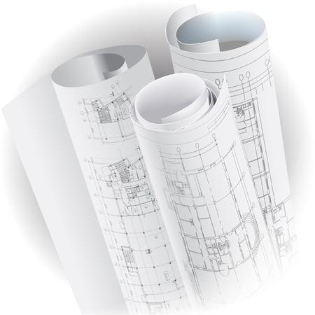 plan van aanpak: Architecturale achtergrond met rollen tekeningen clip-art Stock Illustratie