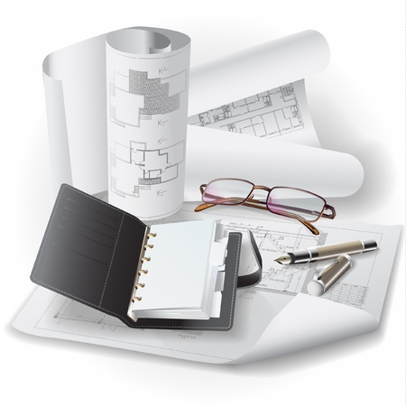measuring cup: Architectural background with drawing tools and rolls of drawings   clip-ar Illustration