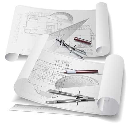 engineering drawing: Architectural background with drawing tools and rolls of drawings   clip-ar Illustration