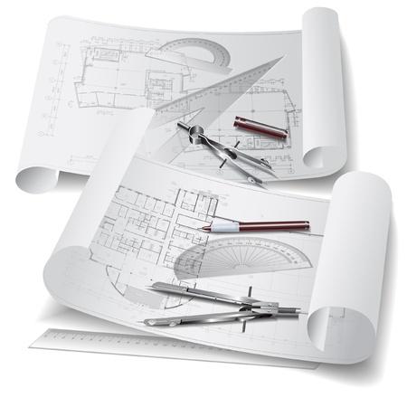 piano di progetto: Sfondo architettonico con strumenti di disegno e rotoli di disegni clip-ar Vettoriali