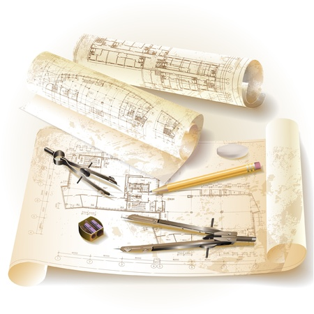 Grunge architectural background with drawing tools and rolls of drawings   clip-art Vector