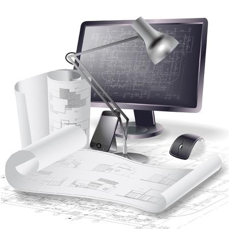 Sfondo architettonico con un monitor e rotoli di disegni clip-art