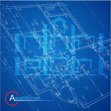 Urban Blueprint    Architectural background  Part of architectural project, architectural plan, technical project, drawing technical letters, design on paper, construction plan Vector