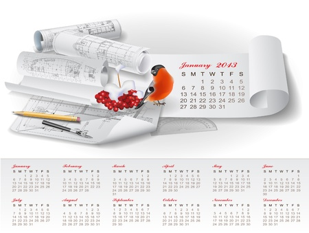 Calendar for 2013 year with colorful architectural design elements Vector