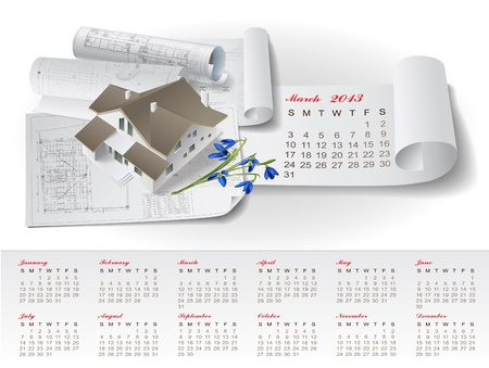 Calendar for 2013 year with colorful architectural design elements Stock Vector - 15477764