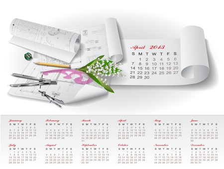 Calendar for 2013 year with colorful architectural design elements Stock Vector - 15477970