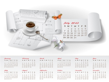 Calendar for 2013 year with colorful architectural design elements Stock Vector - 15477833