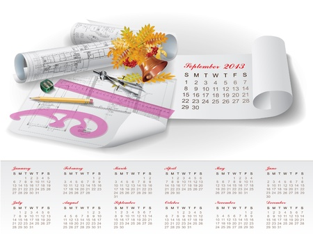 Calendar for 2013 year with colorful architectural design elements Stock Vector - 15477972