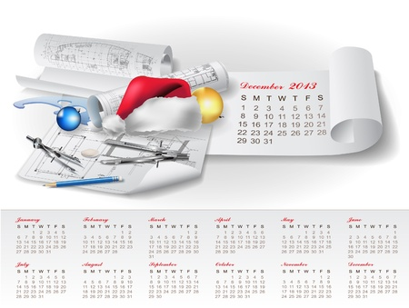 Calendar for 2013 year with colorful architectural design elements Stock Vector - 15477776