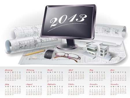 Calendar for 2013 year with colorful architectural design elements Stock Vector - 15477714