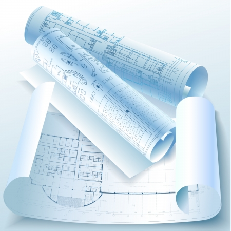 Architectural background avec des rouleaux de dessins