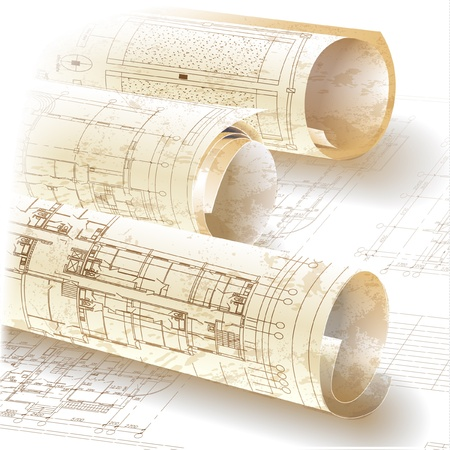 Grunge architectural background with rolls of drawings  Illustration