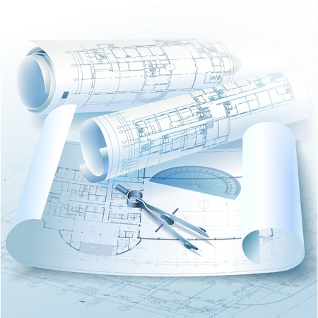 architectural drawing: Architectural background with drawing tools and rolls of drawings