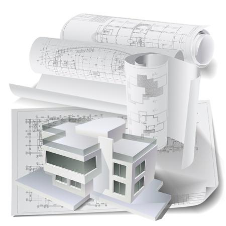 Architectural background avec un mod? de b?ment 3D Vecteurs