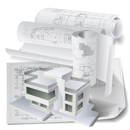 architectural: Architectural background with a 3D building model